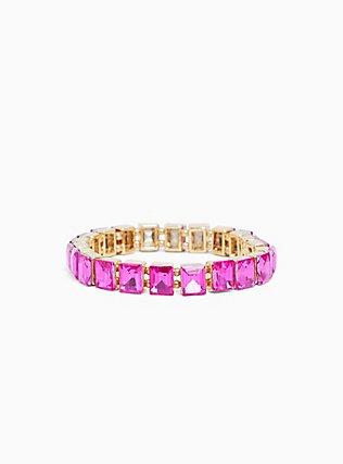 Gold-Tone Oversized Pink Stone Stretch Bracelet, PINK, hi-res