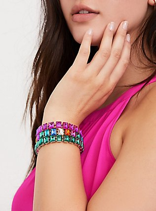 Plus Size Gold-Tone Oversized Multi Stone Stretch Bracelet, MULTI, alternate