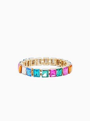 Plus Size Gold-Tone Oversized Multi Stone Stretch Bracelet, MULTI, hi-res