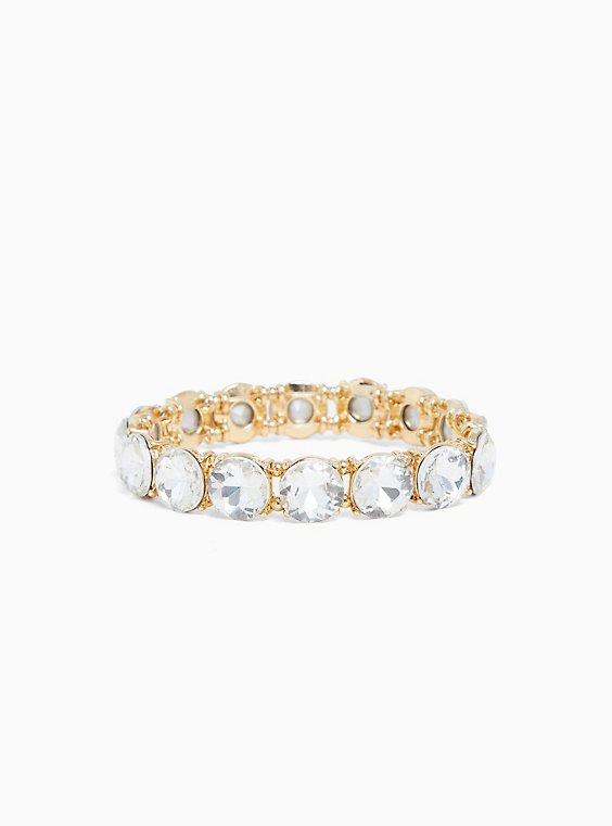Gold-Tone Clear Round Rhinestone Stretch Bracelet, , hi-res