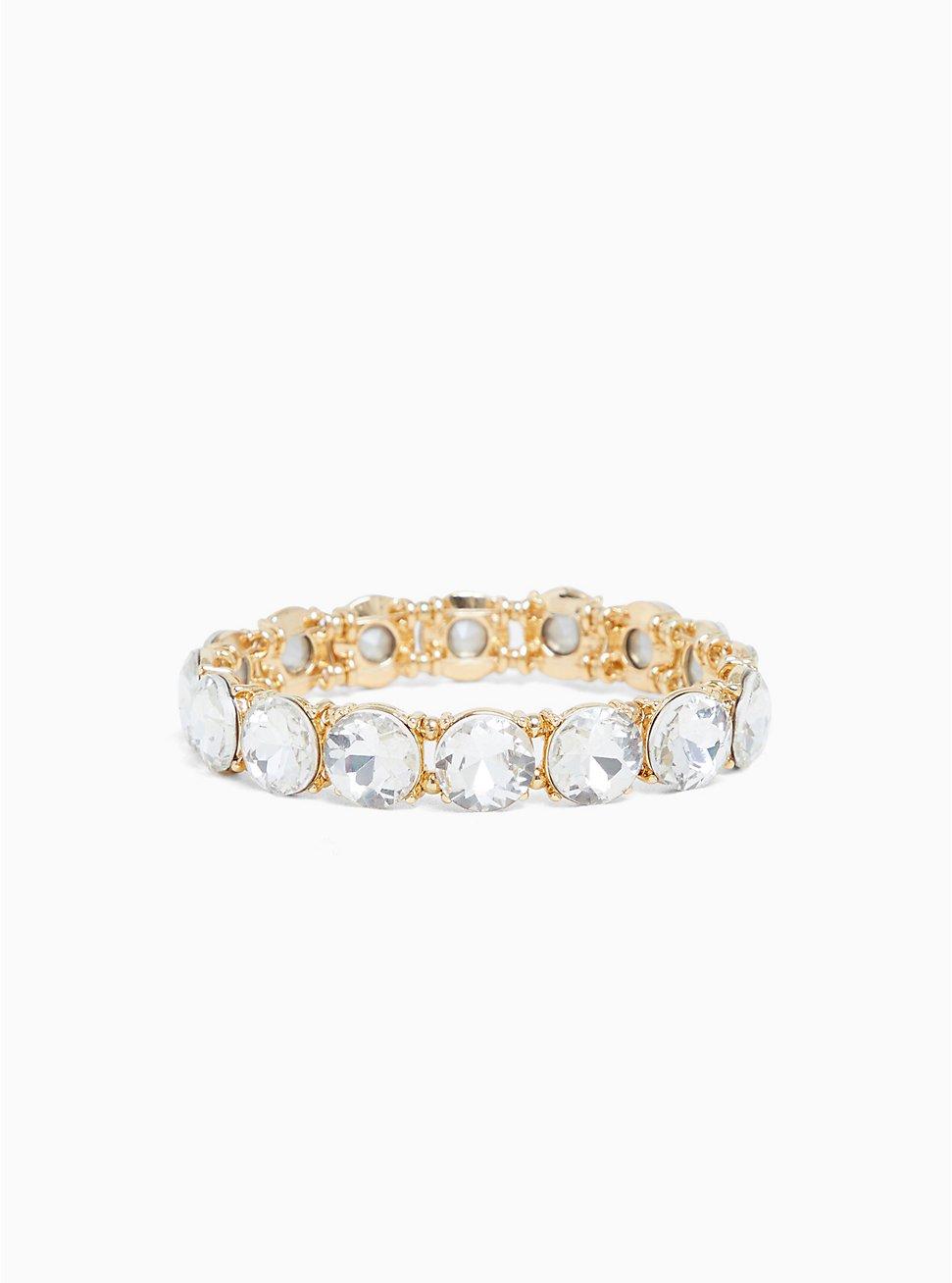 Gold-Tone Clear Round Rhinestone Stretch Bracelet, CLEAR, hi-res