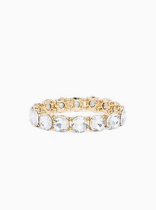Plus Size Gold-Tone Clear Round Rhinestone Stretch Bracelet, CLEAR, hi-res