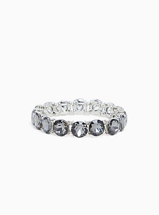 Plus Size Silver-Tone Grey Round Rhinestone Stretch Bracelet, BLACK, hi-res