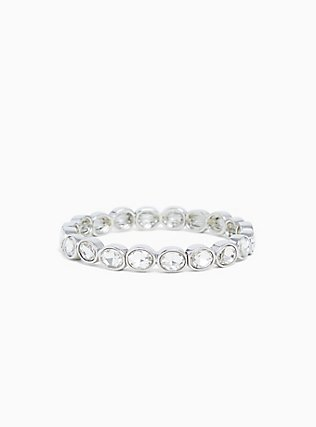 Plus Size Silver-Tone Clear Oval Rhinestone Stretch Bracelet, CLEAR, hi-res