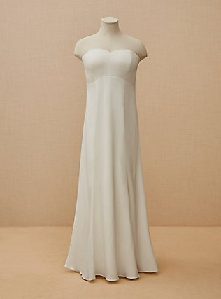 Ivory Satin Strapless Sweetheart Fit & Flare Wedding Dress, CLOUD DANCER, flat