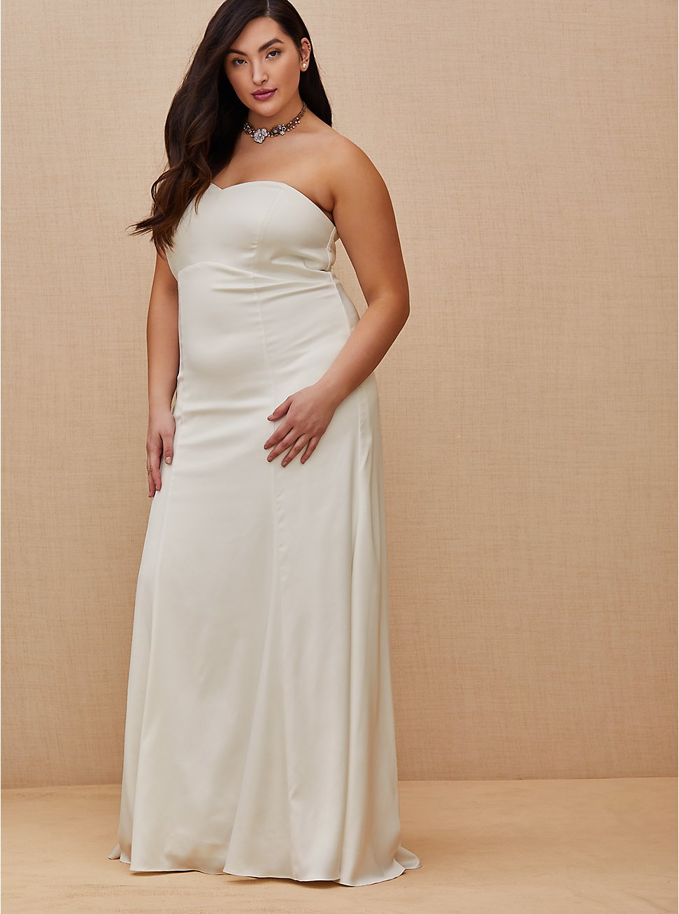 Ivory Satin Strapless Sweetheart Fit & Flare Wedding Dress, , fitModel1-hires