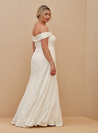 Ivory Satin Off Shoulder Mermaid Wedding Dress, CLOUD DANCER, alternate