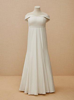 Plus Size Ivory Satin Off Shoulder Mermaid Wedding Dress, CLOUD DANCER, flat