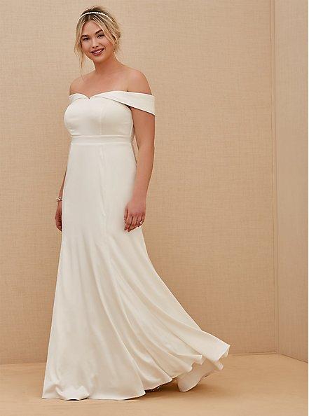 Plus Size Ivory Satin Off Shoulder Mermaid Wedding Dress, CLOUD DANCER, hi-res