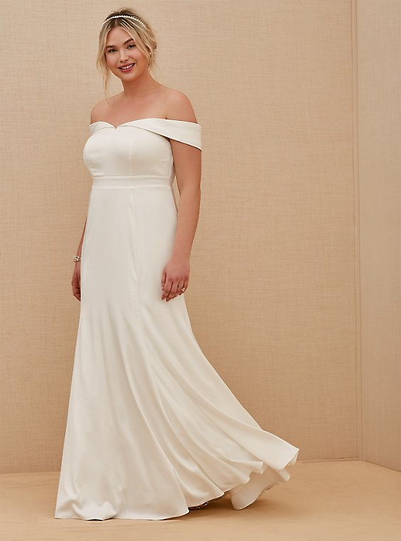 Plus Size Ivory Satin Off Shoulder Mermaid Wedding Dress, , hi-res