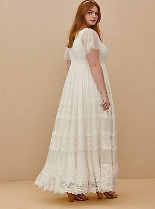 Ivory Lace A-line Boho Wedding Dress, BRIGHT WHITE, alternate