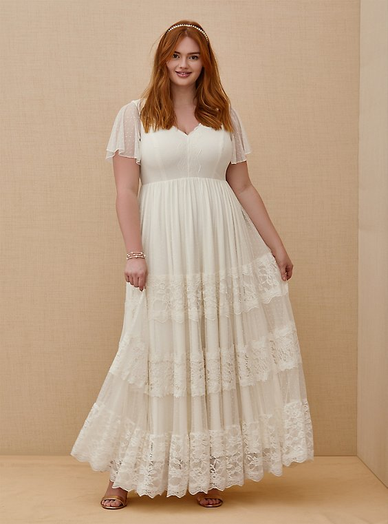 Ivory Lace A-line Boho Wedding Dress, , hi-res