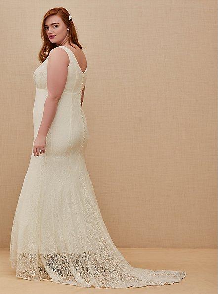 Ivory Lace Beaded Sleeveless Mermaid Wedding Dress, CLOUD DANCER, alternate