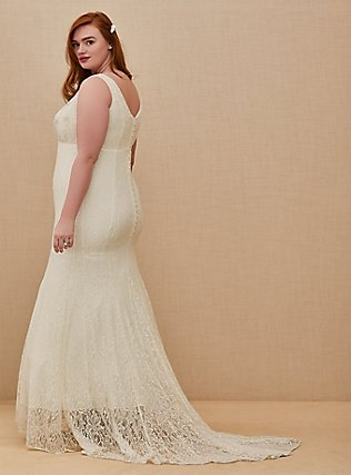 Ivory Lace Beaded Sleeveless Mermaid Wedding Dress, CLOUD DANCER, alternate
