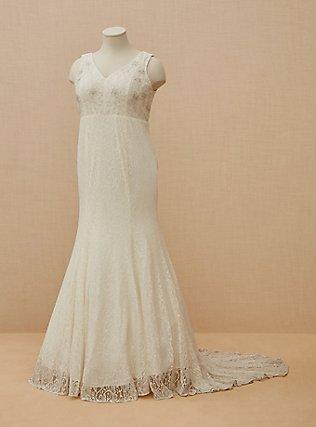 Plus Size Ivory Lace Beaded Sleeveless Mermaid Wedding Dress, CLOUD DANCER, flat