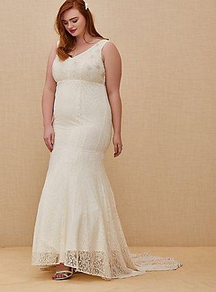 Plus Size Ivory Lace Beaded Sleeveless Mermaid Wedding Dress, CLOUD DANCER, hi-res