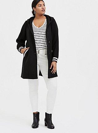 Black Woolen Varsity Hooded Longline Coat, DEEP BLACK, alternate