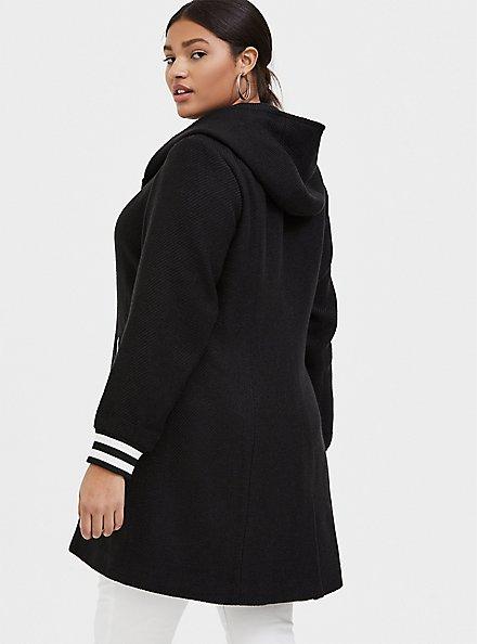 Plus Size Black Woolen Varsity Hooded Longline Coat, DEEP BLACK, alternate