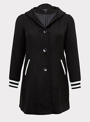 Black Woolen Varsity Hooded Longline Coat, DEEP BLACK, flat