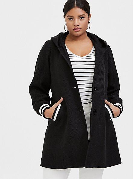 Plus Size Black Woolen Varsity Hooded Longline Coat, DEEP BLACK, hi-res