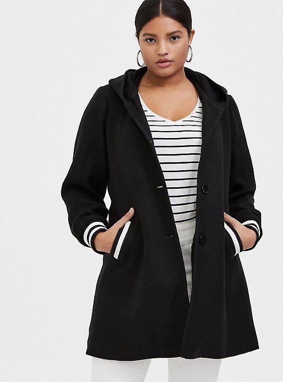Black Woolen Varsity Hooded Longline Coat, , hi-res