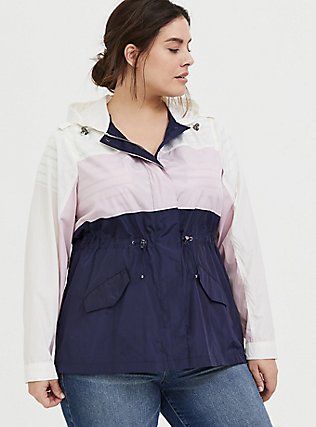 Navy Colorblocked Nylon Hooded Rain Jacket, MULTI, alternate