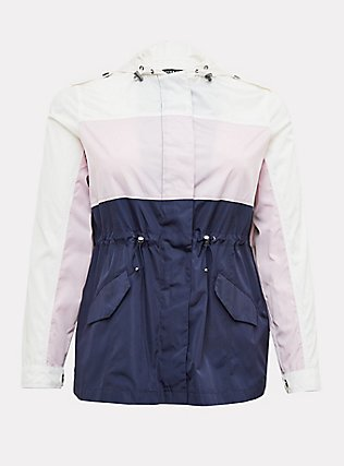 Navy Colorblocked Nylon Hooded Rain Jacket, MULTI, flat
