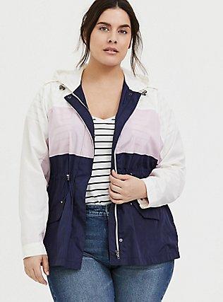 Navy Colorblocked Nylon Hooded Rain Jacket, MULTI, hi-res