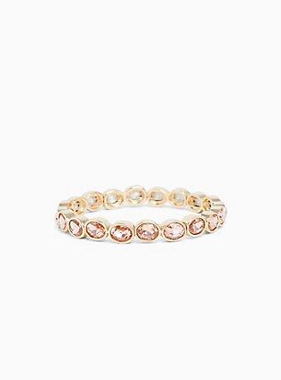 Gold-Tone Rose Pink Oval Rhinestone Stretch Bracelet, MULTI, hi-res