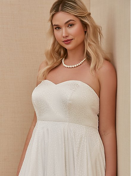 Plus Size White Leopard Satin Strapless Wedding Dress, BRIGHT WHITE, alternate