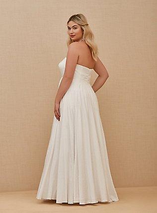 Plus Size White Leopard Satin Strapless Wedding Dress, BRIGHT WHITE, alternate