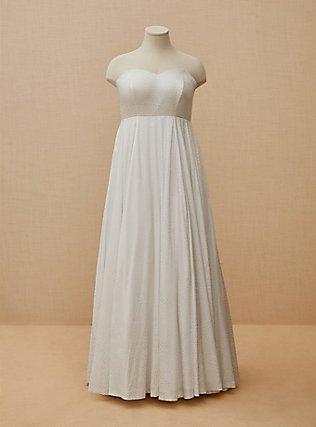 Plus Size White Leopard Satin Strapless Wedding Dress, BRIGHT WHITE, flat