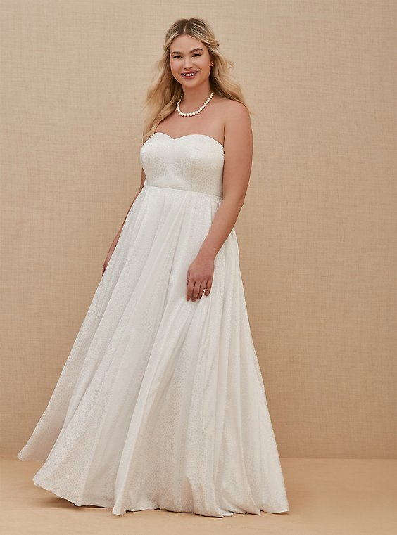 Plus Size White Leopard Satin Strapless Wedding Dress, , hi-res