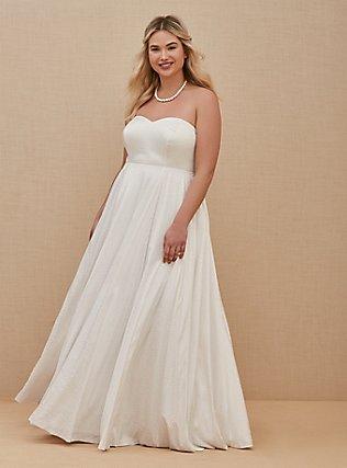 Plus Size White Leopard Satin Strapless Wedding Dress, BRIGHT WHITE, hi-res