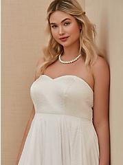 White Leopard Satin Strapless Wedding Dress, , fitModel1-alternate