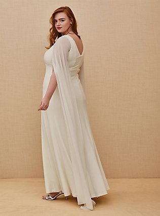 Ivory Chiffon Cape Sleeve Wedding Dress, CLOUD DANCER, alternate
