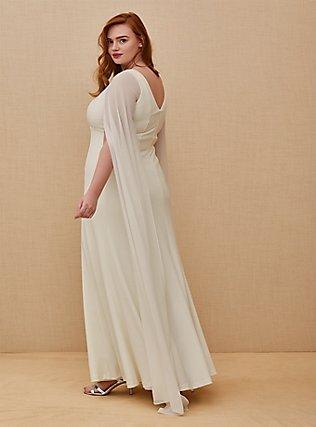 Plus Size Ivory Chiffon Cape Sleeve Wedding Dress, CLOUD DANCER, alternate