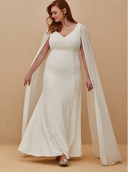 Ivory Chiffon Cape Sleeve Wedding Dress, CLOUD DANCER, hi-res