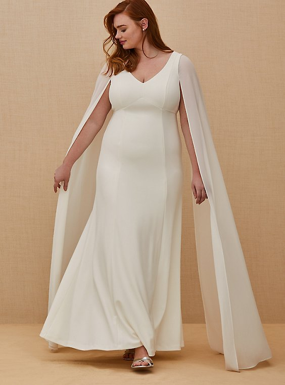 Ivory Chiffon Cape Sleeve Wedding Dress, , hi-res