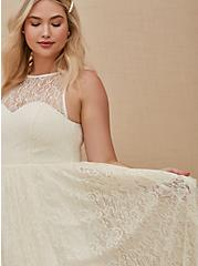 Ivory Lace & Sequin Sleeveless A-Line Wedding Dress, CLOUD DANCER, alternate