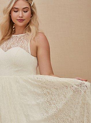 Plus Size Ivory Lace & Sequin Sleeveless A-Line Wedding Dress, CLOUD DANCER, alternate