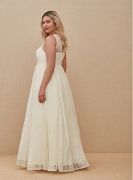 Ivory Lace & Sequin Sleeveless A-Line Wedding Dress, CLOUD DANCER, alternate