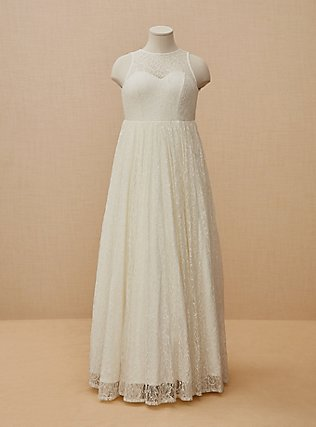 Ivory Lace & Sequin Sleeveless A-Line Wedding Dress, CLOUD DANCER, flat