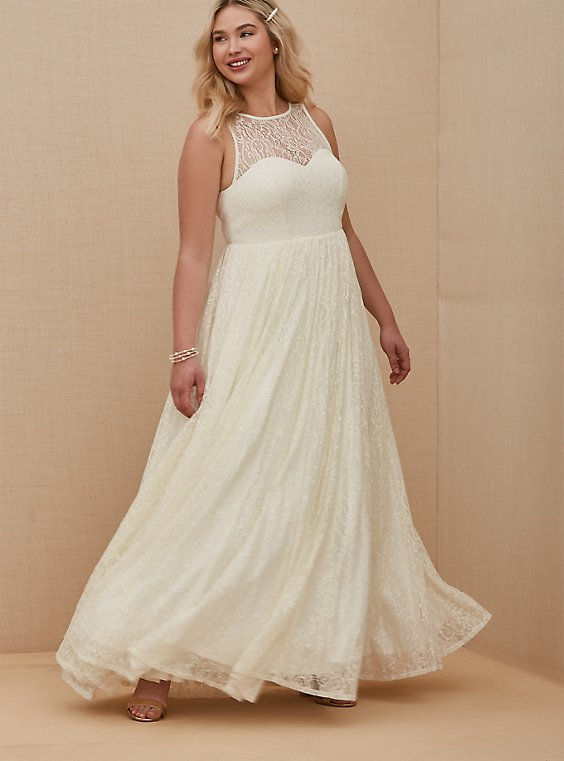 Plus Size Ivory Lace & Sequin Sleeveless A-Line Wedding Dress, , hi-res