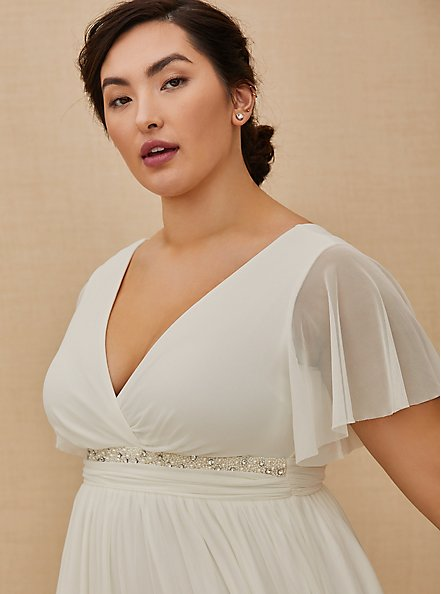 Plus Size Ivory Mesh Flutter Sleeve Empire Wedding Dress, CLOUD DANCER, alternate