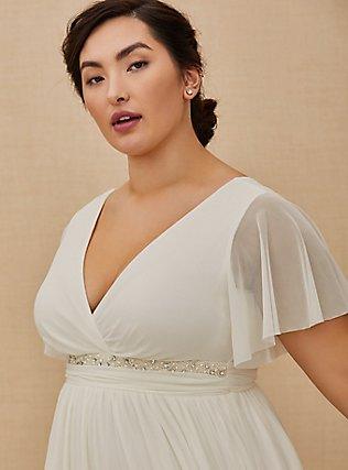Plus Size Ivory Mesh Flutter Sleeve Empire Wedding Dress, CLOUD DANCER, alternate