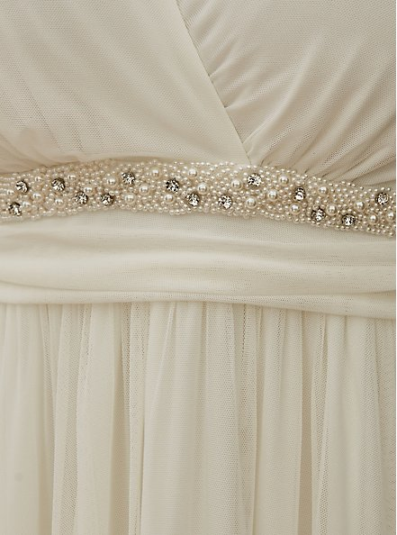 Ivory Mesh Flutter Sleeve Empire Wedding Dress, CLOUD DANCER, alternate