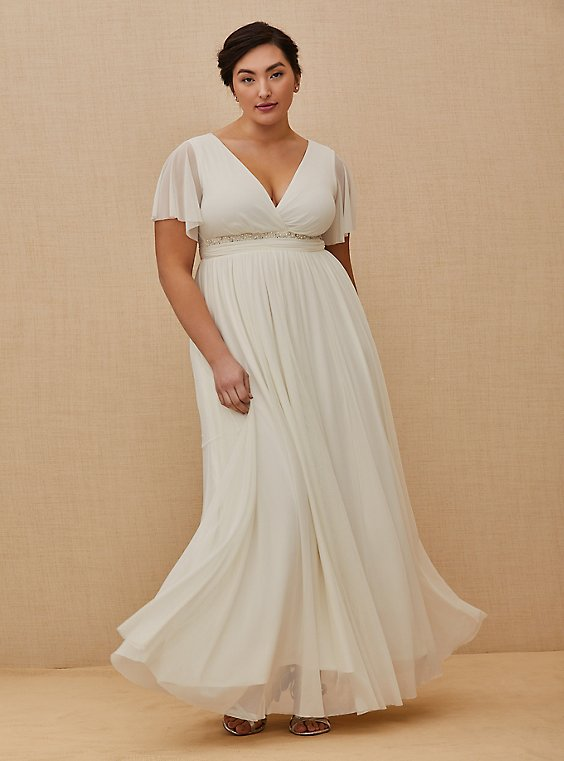 Plus Size Ivory Mesh Flutter Sleeve Empire Wedding Dress, CLOUD DANCER, hi-res