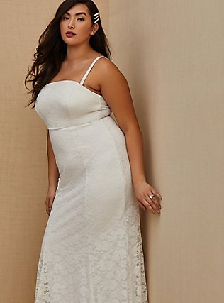 White Lace Strapless Fit & Flare Wedding Dress, CLOUD DANCER, alternate