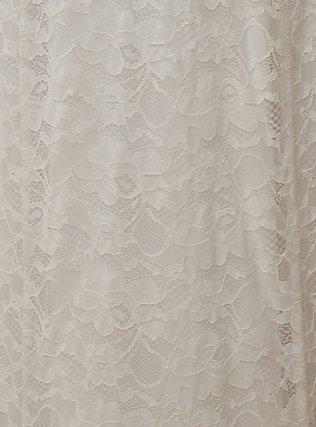 Plus Size White Lace Strapless Fit & Flare Wedding Dress, CLOUD DANCER, alternate